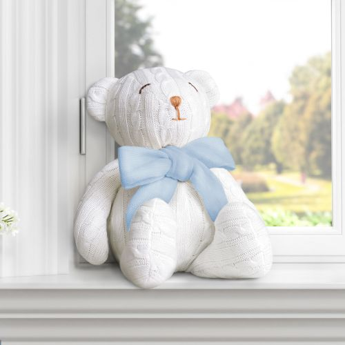 Urso Tricot Off White/Azul 42cm