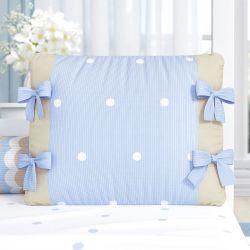 Almofada Laços Tricot Poá Azul 38cm