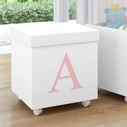 Caixa Organizadora para Brinquedos Branca com Inicial do Nome Personalizada Rosa - E