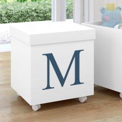 Caixa Organizadora para Brinquedos Branca com Inicial do Nome Personalizada Azul Marinho