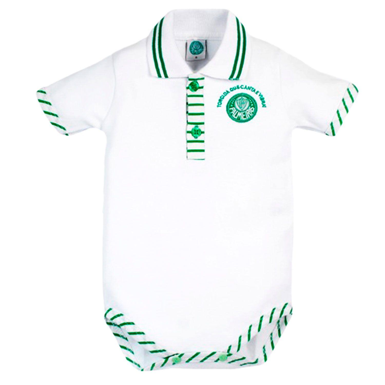 Body Polo Manga Curta Suedine Oficial Palmeiras Branco 6 a 9 Meses ... 65b3a6dea7108