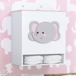 Porta Fraldas MDF Elefante Amiguinhas Safári Rosa