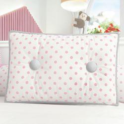 Almofada Botões Rosa Poá 43cm