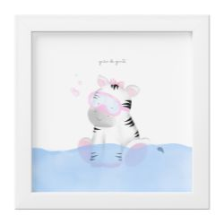 Quadro Amiguinha Zebra Rosa no Banho