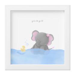 Quadro Amiguinha Elefante Rosa no Banho