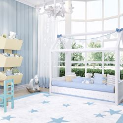 Quarto de Bebê Montessoriano Tricot Poá Azul