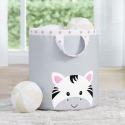 Cesto Organizador para Brinquedos Amiguinha Zebra Rosa 24cm