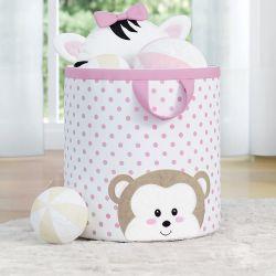 Cesto Organizador para Brinquedos Amiguinha Macaquinha Rosa 28cm