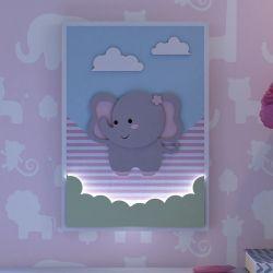 Quadro LED MDF Amiguinha Elefante 32cm