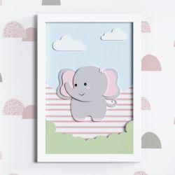 Quadro LED MDF Amiguinha Elefante 35cm