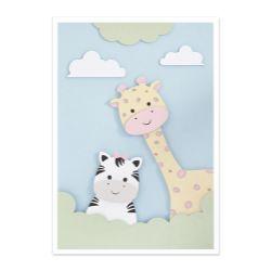 Quadro Amiguinhas Zebra e Girafa Rosa 36cm