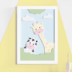 Quadro MDF Amiguinhas Zebra e Girafa Rosa 36cm