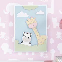 Quadro MDF Amiguinhas Zebra e Girafa Rosa 32cm