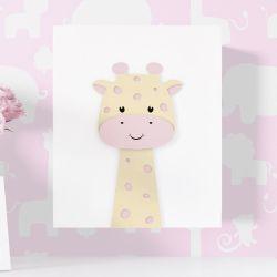 Quadro MDF Amiguinha Girafa Rosa 30cm