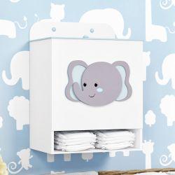 Porta Fraldas MDF Elefante Amiguinhos Safári Azul