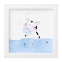 Quadro Amiguinha Zebra Azul no Banho