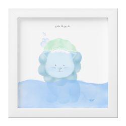 Quadro Amiguinho Leão Azul no Banho