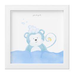 Quadro Amiguinho Macaco Azul no Banho