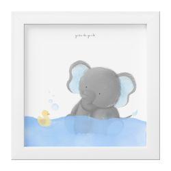 Quadro Amiguinho Elefante Azul no Banho