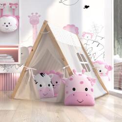 Cabana Quarto de Bebê Amiguinhas Safári Rosa