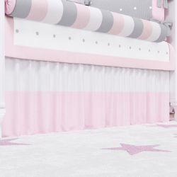 Saia de Berço Branco/Rosa