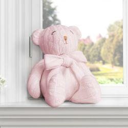 Urso Clássico Tricot Rosa 42cm