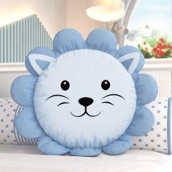 Almofada Redonda Amiguinho Leão Azul 30cm