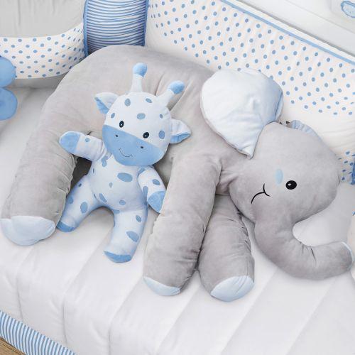 Almofada Travesseiro Elefante de Pelúcia Azul 82cm