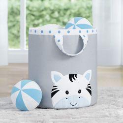 Cesto Organizador para Brinquedos Amiguinha Zebra Azul 24cm