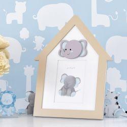 Porta Retrato MDF Amiguinho Elefante Azul 10cm x 15cm