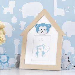 Porta Retrato MDF Amiguinho Macaco Azul 10cm x 15cm