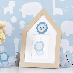 Porta Retrato MDF Amiguinho Leão Azul 10cm x 15cm