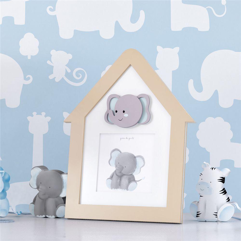 Porta Retrato MDF Bege Elefante Azul 9cmx9cm Grão de Gente