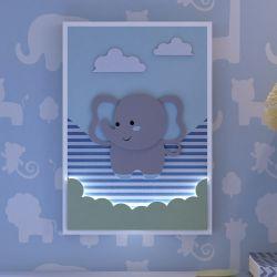 Quadro LED MDF Amiguinho Elefante Azul 32cm