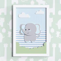 Quadro LED MDF Amiguinho Elefante Azul 35cm