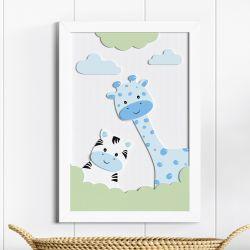 Quadro MDF Amiguinhas Zebra e Girafa Azul 36cm