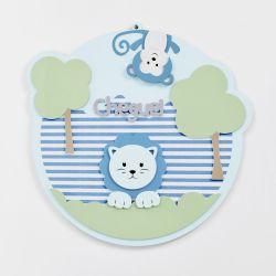 Porta Maternidade Cheguei Amiguinhos Safári Azul