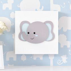 Quadro MDF Amiguinho Elefante Azul 25cm