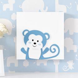 Quadro MDF Amiguinho Macaco Azul 25cm