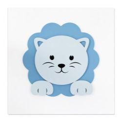 Quadro MDF Amiguinho Leão Azul 25cm