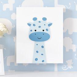 Quadro MDF Amiguinha Girafa Azul 30cm