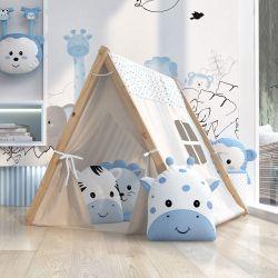 Cabana Quarto de Bebê Amiguinhos Safári Azul