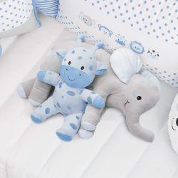 Almofada Travesseiro Elefante de Pelúcia Azul 62cm