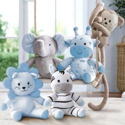 Bichinhos de Pelúcia Amiguinhos Safári Azul 5 Peças
