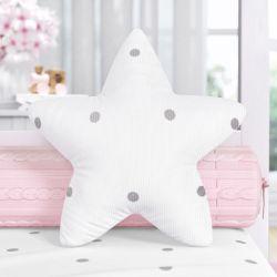 Almofada Estrela Tricot Poá Cinza 30cm