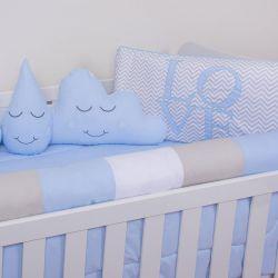 Kit Berço Love Nuvem e Gotinha Azul