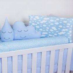 Kit Berço Estrelas Nuvem e Gotinha Azul