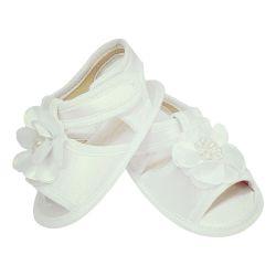 Sandália de Bebê com Flor e Pérolas Branco