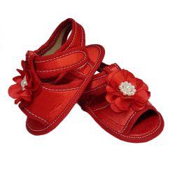 Sandália de Bebê com Flor e Pérolas Vermelho