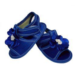 Sandália de Bebê com Flor e Pérolas Azul Marinho